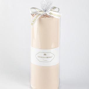 Простынь на резинке с наволочками Tivolyo Home хлопковый сатин делюкс персиковый 160х200+30
