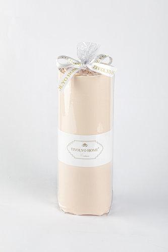 Простынь на резинке с наволочками Tivolyo Home хлопковый сатин делюкс персиковый 100х200+30, фото, фотография