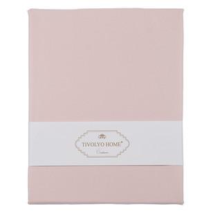 Простынь на резинке с наволочками Tivolyo Home хлопковый сатин делюкс розовый 100х200+30