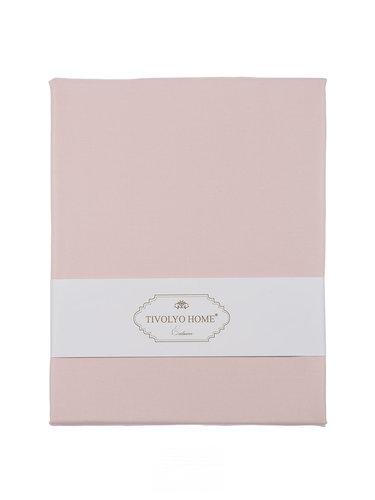 Простынь на резинке с наволочками Tivolyo Home хлопковый сатин делюкс розовый 100х200+30, фото, фотография
