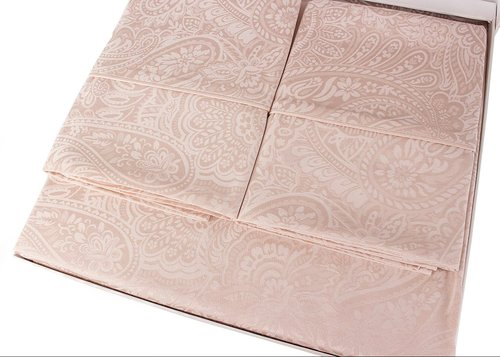 Постельное белье Tivolyo Home AVELINA бамбуковый сатин-жаккард делюкс пудра евро, фото, фотография