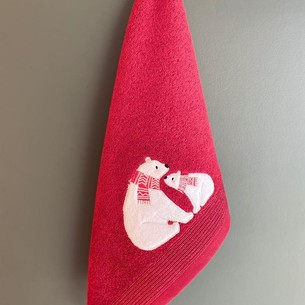 Полотенце-салфетка La Villa IKILI KUTUP AYISI хлопковая махра бордовый 45х70