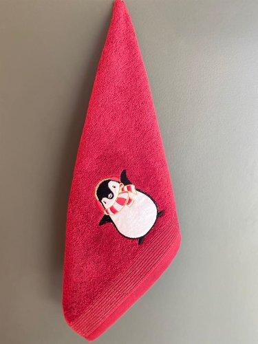 Полотенце-салфетка La Villa PENGUEN хлопковая махра бордовый 45х70, фото, фотография