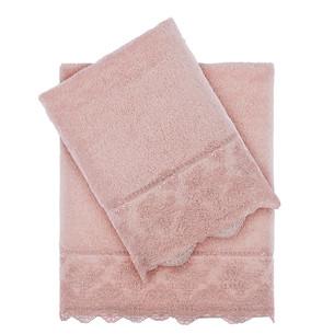 Подарочный набор полотенец для ванной 2 пр. Tivolyo Home MINOSA хлопковая махра пудра