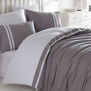 Постельное белье Ecosse RANFORCE ДВУХЦВЕТНОЕ хлопковый ранфорс тёмно-серый, светло-серый евро