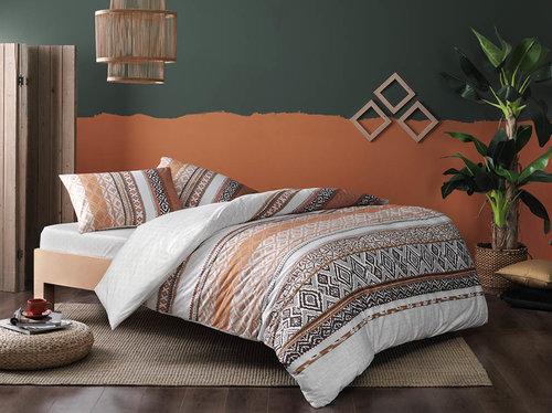 Постельное белье TAC HAPPY DAYS DARIA хлопковый ранфорс коричневый 1,5 спальный, фото, фотография