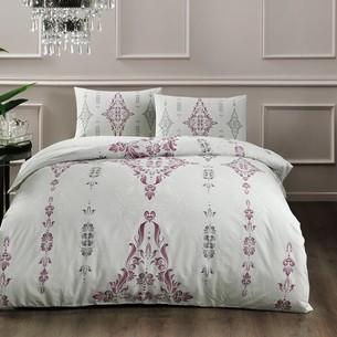 Постельное белье TAC HAPPY DAYS ZAHARA хлопковый ранфорс белый, бордовый 1,5 спальный