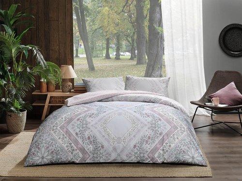 Постельное белье TAC HAPPY DAYS VALERIA хлопковый ранфорс серый, пудра 1,5 спальный, фото, фотография