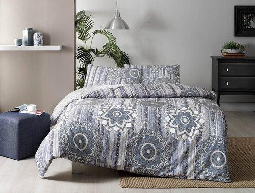 Постельное белье TAC HAPPY DAYS ABEL хлопковый ранфорс синий 1,5 спальный, фото, фотография