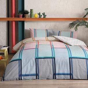 Комплект подросткового постельного белья TAC SANTANA хлопковый ранфорс пудра, бирюзовый 1,5 спальный