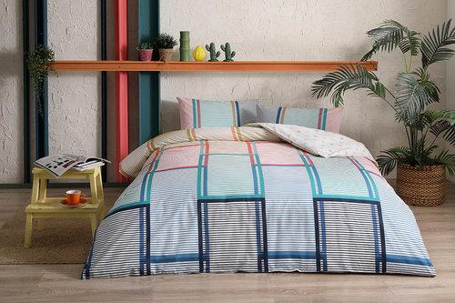 Комплект подросткового постельного белья TAC SANTANA хлопковый ранфорс пудра, бирюзовый 1,5 спальный, фото, фотография