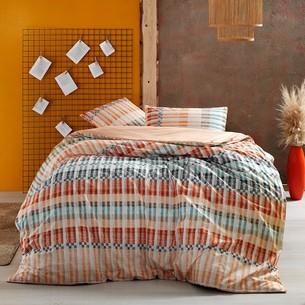 Комплект подросткового постельного белья TAC LUKE хлопковый ранфорс оранжевый евро