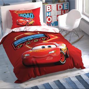Детское постельное белье светящееся TAC CARS SHINY ROAD хлопковый ранфорс 1,5 спальный