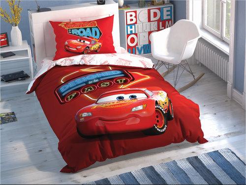 Детское постельное белье светящееся TAC CARS SHINY ROAD хлопковый ранфорс 1,5 спальный, фото, фотография