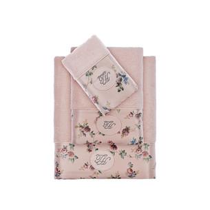 Подарочный набор полотенец для ванной 2 пр. Tivolyo Home ROSELAND LUX хлопковая махра розовый