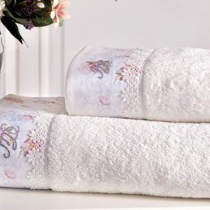 Подарочный набор полотенец для ванной 3 предмета + спрей Tivolyo Home VENICE хлопковая махра кремовый