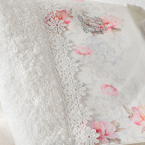 Подарочный набор полотенец для ванной 3 предмета + спрей Tivolyo Home VENICE хлопковая махра кремовый, фото, фотография