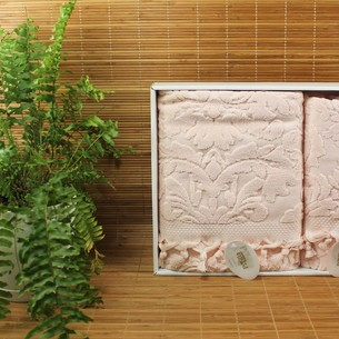 Набор полотенец для ванной в подарочной упаковке 2 пр. Pupilla ELIZ хлопковая махра розовый