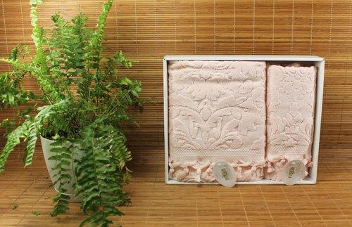Набор полотенец для ванной в подарочной упаковке 2 пр. Pupilla ELIZ хлопковая махра розовый, фото, фотография