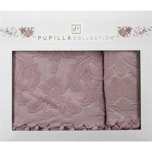 Набор полотенец для ванной в подарочной упаковке 2 пр. Pupilla ELIZ хлопковая махра сухая роза
