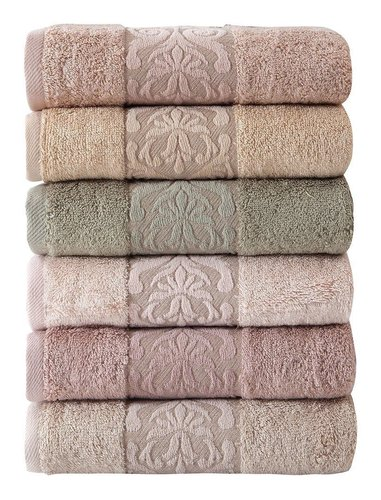 Набор полотенец для ванной 6 шт. Pupilla GLORY бамбуковая махра 50х90, фото, фотография