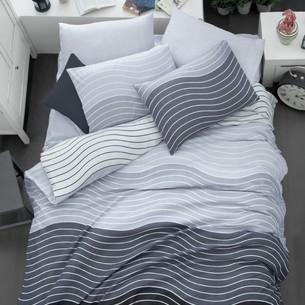 Постельное белье Ecosse RANFORCE WAVE хлопковый ранфорс серый евро