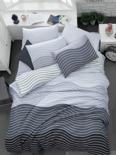 Постельное белье Ecosse RANFORCE WAVE хлопковый ранфорс серый евро, фото, фотография