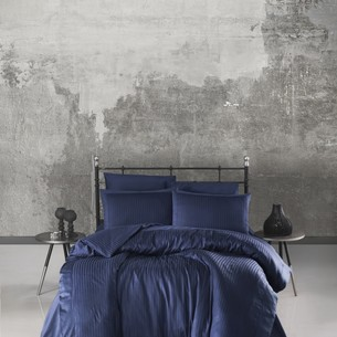 Постельное белье Saheser JACQUARD SATIN GIZGILI VIP хлопковый сатин-жаккард тёмно-синий евро