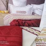 Постельное белье с пледом-покрывалом Pupilla CHARLOTTE хлопковый сатин красный евро, фото, фотография
