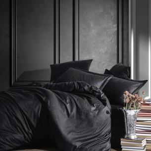 Постельное белье Saheser JACQUARD VIP SATIN AUSTIN хлопковый сатин-жаккард чёрный евро
