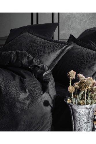 Постельное белье Saheser JACQUARD VIP SATIN AUSTIN хлопковый сатин-жаккард чёрный евро, фото, фотография