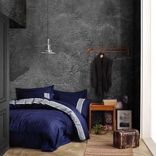 Постельное белье Saheser JACQUARD VIP SATIN BRILLIANT хлопковый сатин-жаккард синий евро