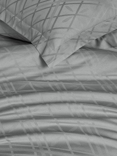 Постельное белье Karna KALDE бамбуково-хлопковый сатин серый евро, фото, фотография