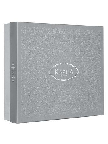 Постельное белье Karna KALDE бамбуково-хлопковый сатин капучино евро, фото, фотография