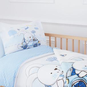 Набор в кроватку для новорожденных с пледом Ozdilek DAY голубой