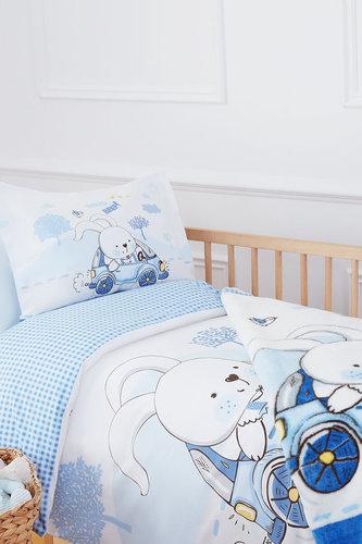 Набор в кроватку для новорожденных с пледом Ozdilek DAY голубой, фото, фотография