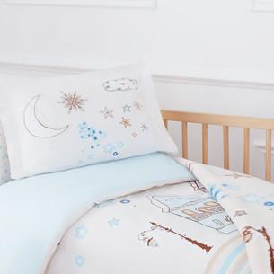 Набор в кроватку для новорожденных с пледом Ozdilek STELLA голубой