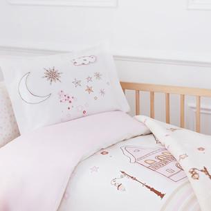 Набор в кроватку для новорожденных с пледом Ozdilek STELLA розовый