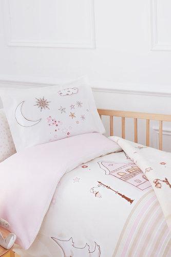 Набор в кроватку для новорожденных с пледом Ozdilek STELLA розовый, фото, фотография