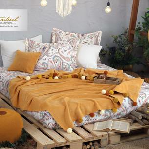 Постельное белье без пододеяльника с пледом Istanbul Home Collection BOHO хлопковый ранфорс горчичный евро