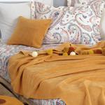 Постельное белье без пододеяльника с пледом Istanbul Home Collection BOHO хлопковый ранфорс горчичный евро, фото, фотография