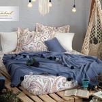 Постельное белье без пододеяльника с пледом Istanbul Home Collection BOHO хлопковый ранфорс синий евро, фото, фотография