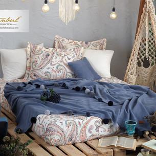 Постельное белье без пододеяльника с пледом Istanbul Home Collection BOHO хлопковый ранфорс синий евро