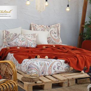 Постельное белье без пододеяльника с пледом Istanbul Home Collection BOHO хлопковый ранфорс корица евро