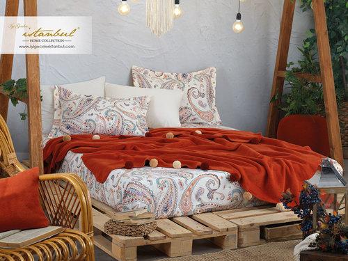 Постельное белье без пододеяльника с пледом Istanbul Home Collection BOHO хлопковый ранфорс корица евро, фото, фотография