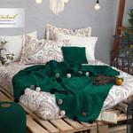Постельное белье без пододеяльника с пледом Istanbul Home Collection BOHO хлопковый ранфорс изумрудный евро, фото, фотография