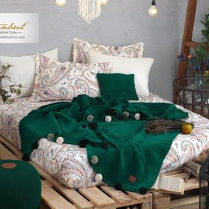 Постельное белье без пододеяльника с пледом Istanbul Home Collection BOHO хлопковый ранфорс изумрудный евро