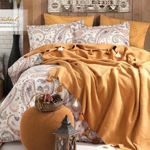 Постельное белье с пледом Istanbul Home Collection BOHO хлопковый ранфорс горчичный евро