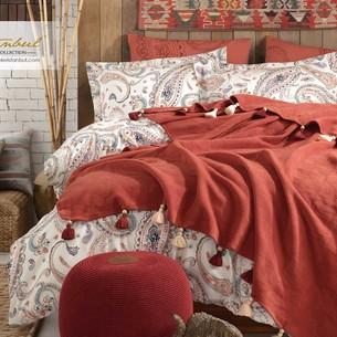 Постельное белье с пледом Istanbul Home Collection BOHO хлопковый ранфорс корица евро