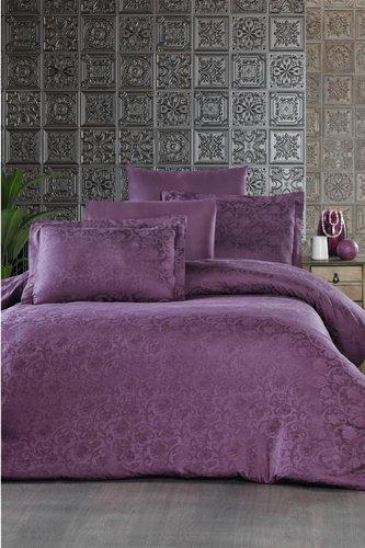 Постельное белье Ecosse SATIN JAKARLI GARDENIA хлопковый сатин-жаккард фиолетовый евро, фото, фотография